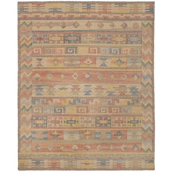 eCarpetGallery Kozak 17110 Brown/Yellow Wool/Cotton Flatweave Sumak Rug - 8' x 10'