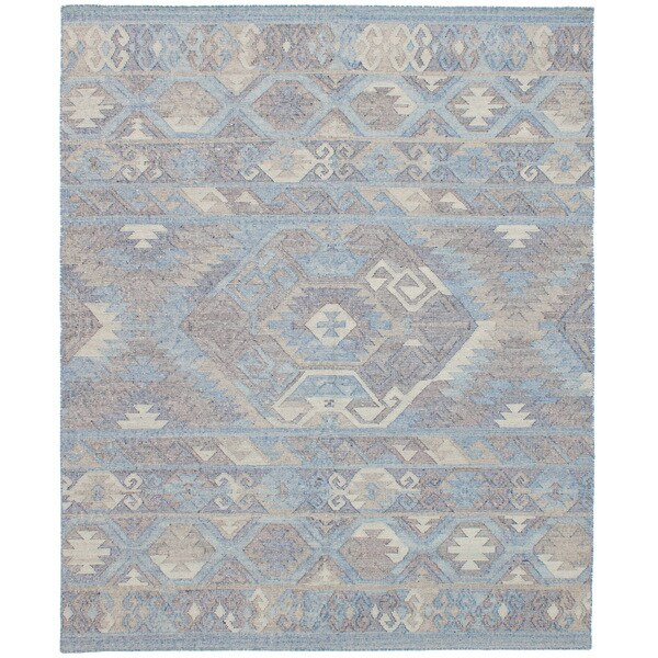 eCarpetGallery Kozak Blue Wool Flatweave Sumak Area Rug - 8' x 10'
