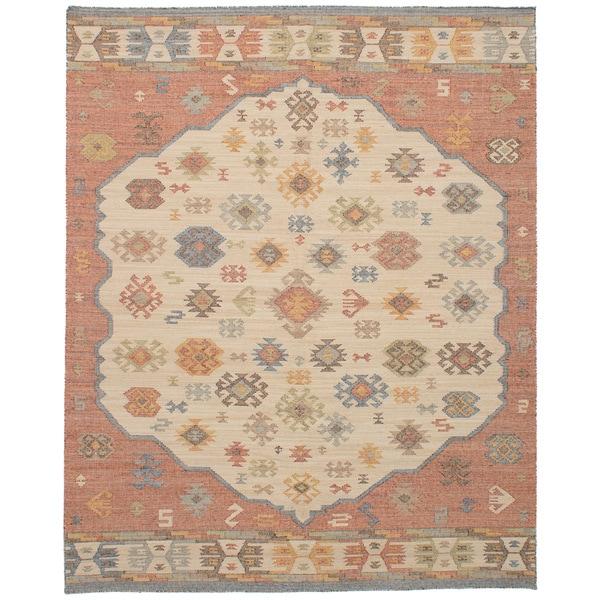eCarpetGallery Kozak 17133 Ivory/Red Wool/Cotton Flatweave Sumak Area Rug - 8' x 10'