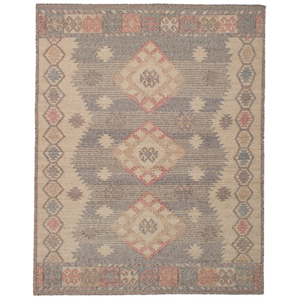 eCarpetGallery Kozak Brown/Ivory Wool Flatweave Sumak Area Rug - 8'0 x 10'0