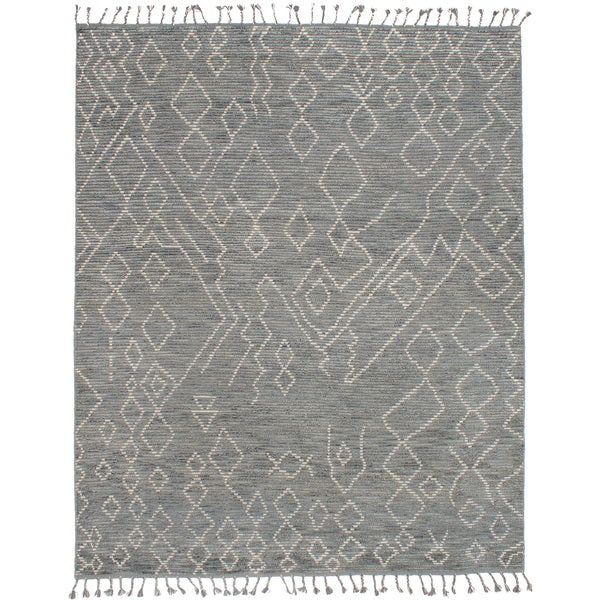 eCarpetGallery Tangier 20033 Grey Hand-knotted Wool/Cotton Area Rug - 8' x 10'