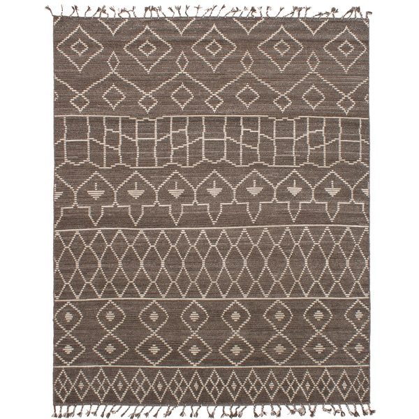 eCarpetGallery 20011 Tangier Brown/Grey Hand-knotted Wool Area Rug (8'0 x 10'0)