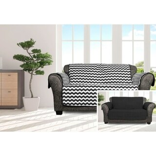 Quick Fit Fifi Collection Chevron Quilted Reversible Loveseat Protector