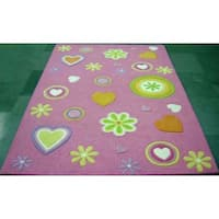 KAS Kidding Around Pink Girltime Rug - 5' x 7'6