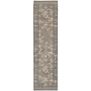 eCarpetGallery Flatweave Kozak 17123 Grey/Black/Ivory Wool and Cotton Sumak Runner Rug - 2'6 x 10'0