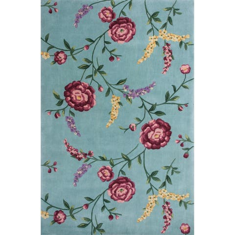 KAS Ruby Blue Floral Vines Rug