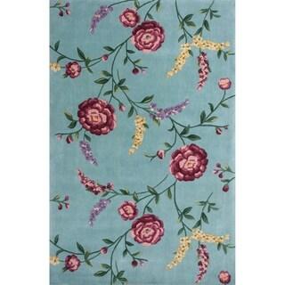 "Ruby 8919 Blue Floral Vines 5'3"" x 8' - 5'3"" x 8'"