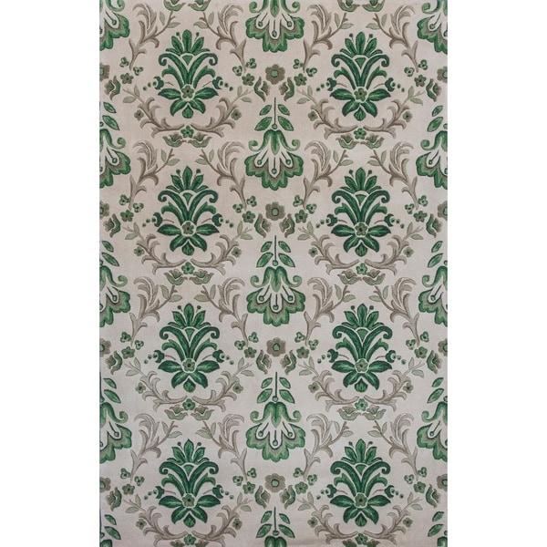 Shop KAS Emerald Ivory/Green Damask Rug