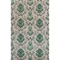 KAS Emerald Ivory/Green Damask Rug - 5'3 x 8'3