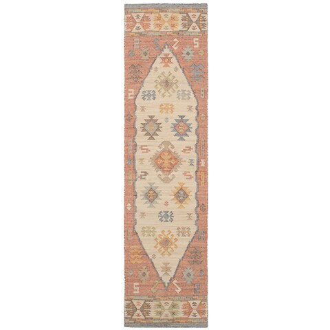 "eCarpetGallery Kozak 17133 Sumak Ivory/Red Wool Flatweave Runner Rug (2'6 x 10) - 2'6"" x 10'"