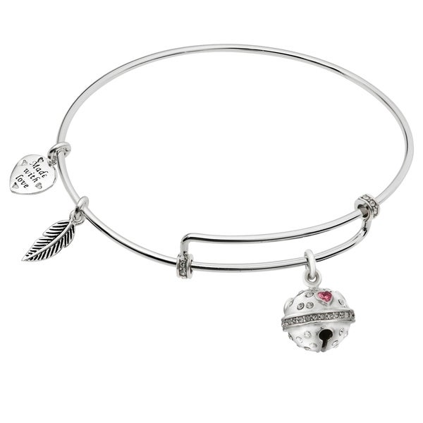 qina c rhodium on sterling silver jingle bells charm bangle