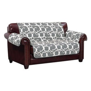 Quick Fit Rhys Collection Geometric Print Quilted Reversible Loveseat Protector