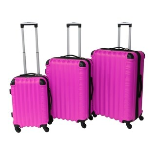 Rivolite JL-1701 Pink 3-piece Hardside Spinner Luggage Set