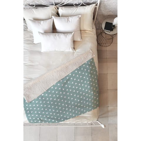 Little Arrow Design Co Mod Triangles on Blue Fleece Throw Blanket