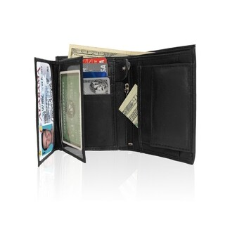 AFONiE RFID Blocking Men's Extra Capacity Leather Wallet