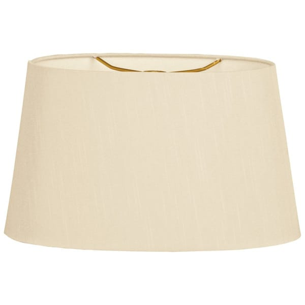 Royal Designs Shallow Oval Hardback Lamp Shade, Beige, 16 x 18 x 9.5