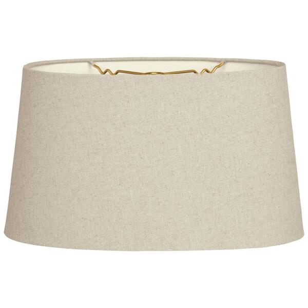 Royal Designs Shallow Oval Hardback Lamp Shade, Linen Cream, 14 x 16 x 9