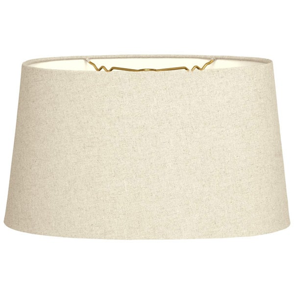 Royal Designs Shallow Oval Hardback Lamp Shade, Linen Beige, 14 x 16 x 9