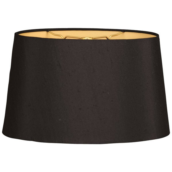 Royal Designs Shallow Oval Hardback Lamp Shade, Black, 14 x 16 x 9