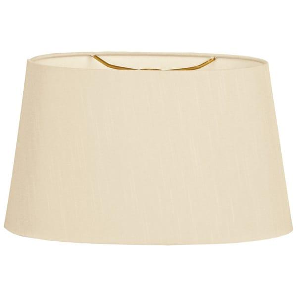 Royal Designs Shallow Oval Hardback Lamp Shade, Beige, 14 x 16 x 9
