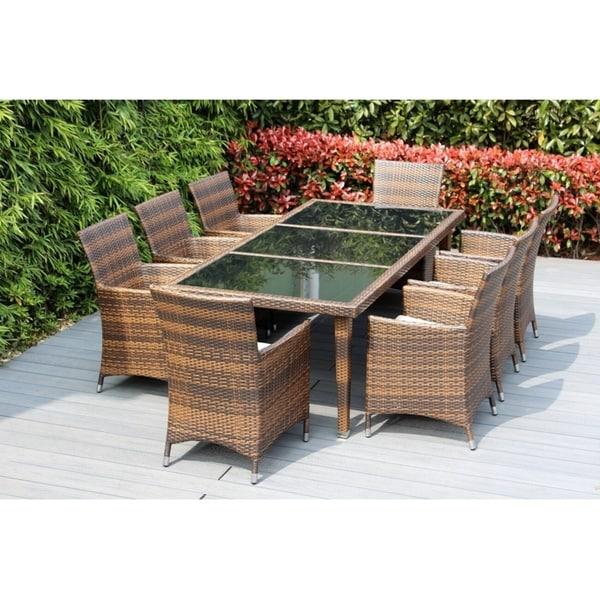 Ohana Patio Furniture Reviews.Shop Ohana Outdoor Patio 9 Piece Mixed Brown Wicker Dining Set With