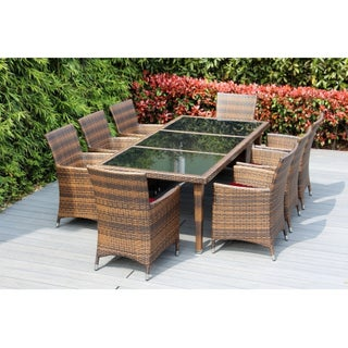 Ohana Outdoor Patio 9 Piece Mixed Brown Wicker Dining Set with Cushions (2 options available)
