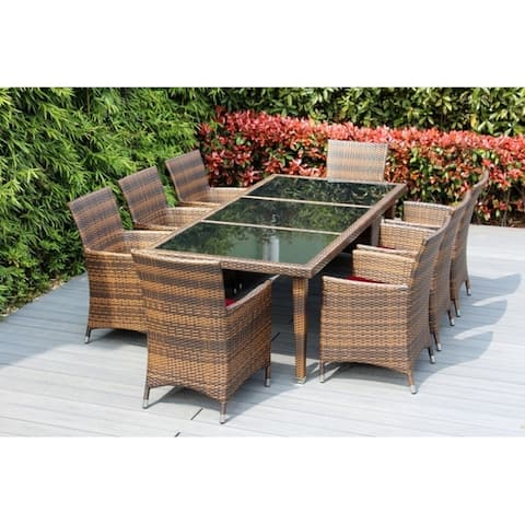Ohana Outdoor Patio 9 Piece Mixed Brown Wicker Dining Set with Cushions