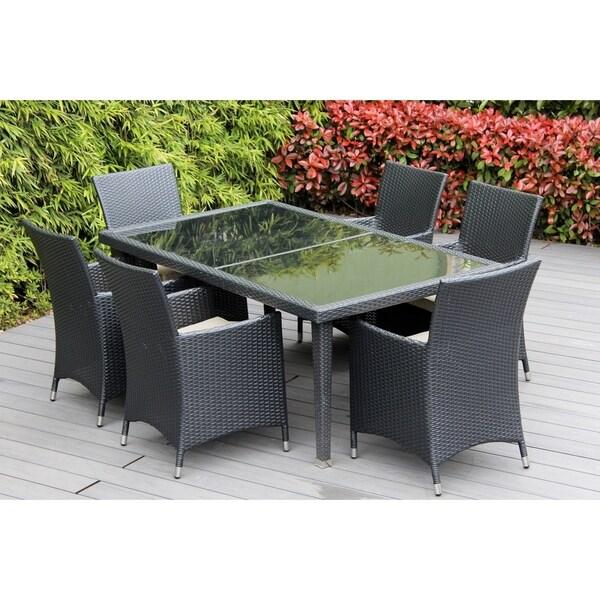 Ohana Outdoor Patio 7 Piece Black Wicker Dining Set with Cushions