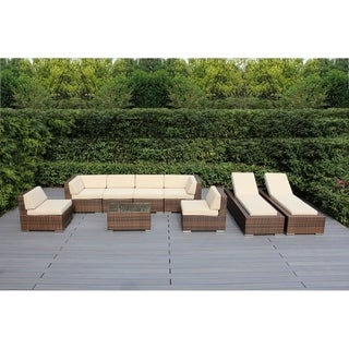 Link to Ohana Outdoor Patio 9-piece Mixed Brown Cushioned Wicker Sofa Set Similar Items in Outdoor Cushions & Pillows