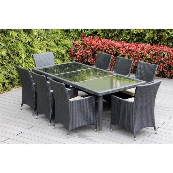 Ohana Outdoor Patio 9 Piece Black Wicker Dining Set With Cushions