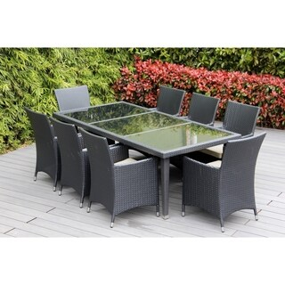 Ohana Outdoor Patio 9 Piece Black Wicker Dining Set with Cushions