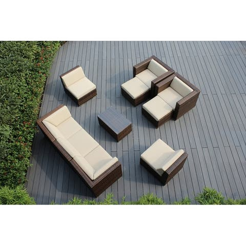 Ohana Outdoor Patio 10 Piece Mixed Brown Wicker Conversation Set with Cushions