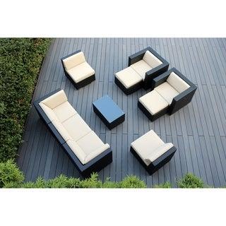 Ohana Outdoor Patio 10 Piece Black Wicker Conversation Set with Cushions