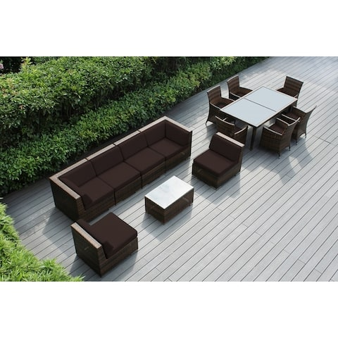 Ohana Outdoor Patio 14 Piece Mixed Brown Wicker Sofa and Dining Set with Cushions