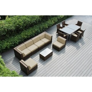 Ohana Outdoor Patio 14-piece Mixed Brown Resin Wicker Sofa and Dining Set with Cushions
