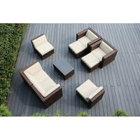 Ohana Outdoor Patio 9 Piece Mixed Brown Wicker Conversation Set with Cushions
