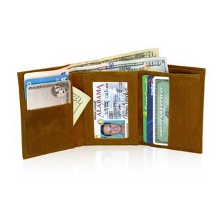 AFONiE RFID Blocking Soft Genuine Leather Tri-fold Wallet (Option: Tan)