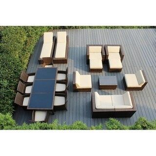 Ohana Outdoor Patio 20 Piece Mixed Brown Wicker Sofa and Dining Set with Cushions