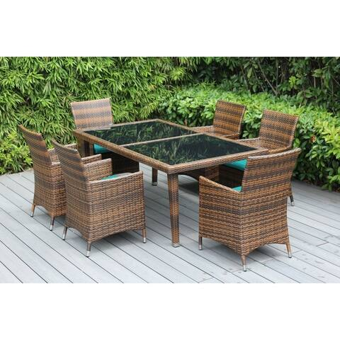 Ohana Outdoor Patio 7 Piece Mixed Brown Wicker Dining Set with Cushions