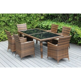 Ohana 7-piece Mixed Brown Resin Wicker/Aluminium Outdoor Patio Dining Set with Cushions