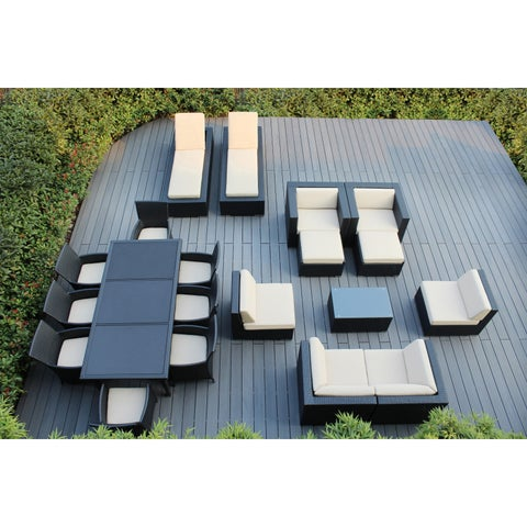 Ohana Outdoor Patio 20 Piece Black Wicker Sofa and Dining Set with Cushions
