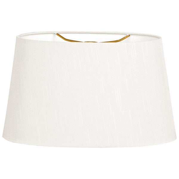 Royal Designs Shallow Oval Hardback Lamp Shade, White, 10 x 12 x 7