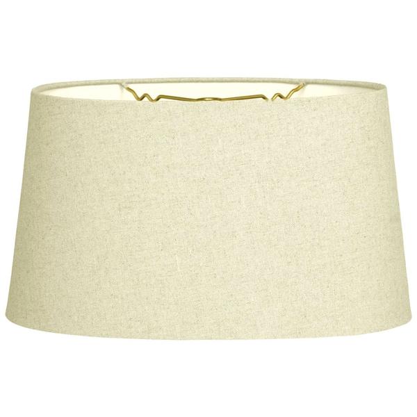 Royal Designs Shallow Oval Hardback Lamp Shade, Linen Eggshell, 10 x 12 x 7