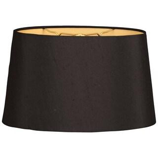 Royal Designs Shallow Oval Hardback Lamp Shade, Black, 10 x 12 x 7