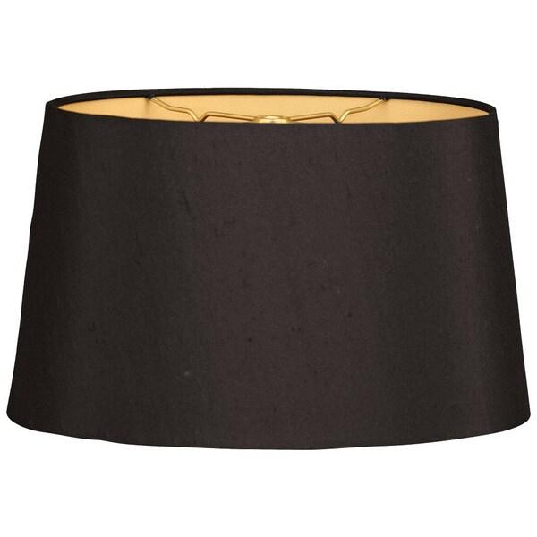 Royal Designs Shallow Oval Hardback Lamp Shade, Black, 8 x 10 x 5.5