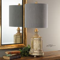 Uttermost Falerone Grey Distressed Golden Table Lamp