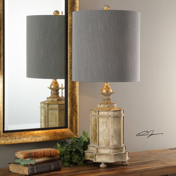 Shop Uttermost Falerone Grey Distressed Golden Table Lamp Free