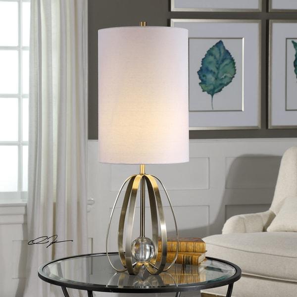 Uttermost Avola Brushed Nickel Bands Drum Table Lamp