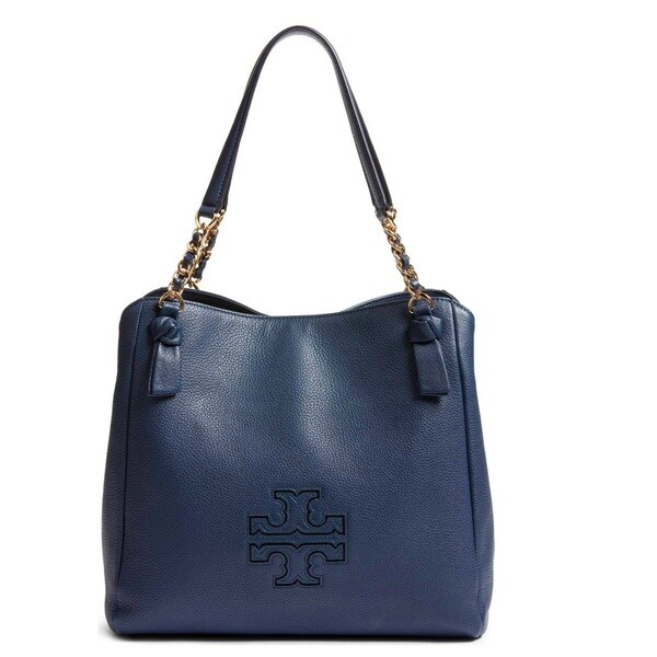00c9657771a Shop Tory Burch Harper Tory Navy Slouchy Satchel Handbag - Free ...