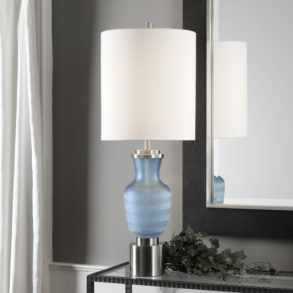 Uttermost Acciano Brushed Nickel/Frosted Blue Iron/Glass Table Lamp